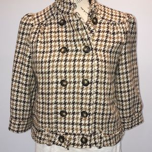 Forever 21 Brown Houndstooth Short Jacket Medium